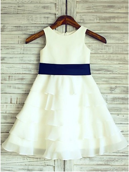 A-line/Princess Scoop Ruffles Tea-Length Chiffon Flower Girl Dress