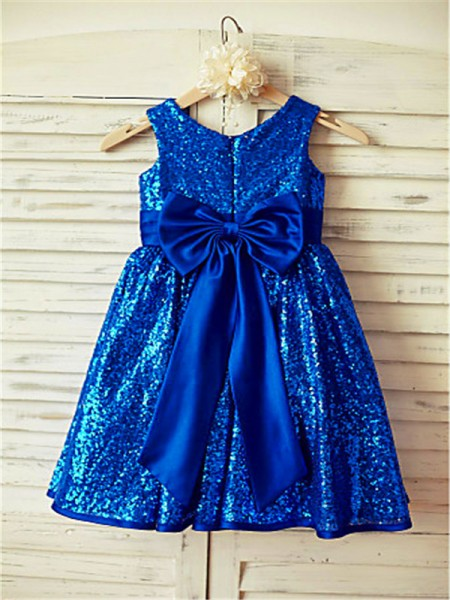 A-line/Princess Scoop Bowknot Tea-Length Sequins Flower Girl Dress