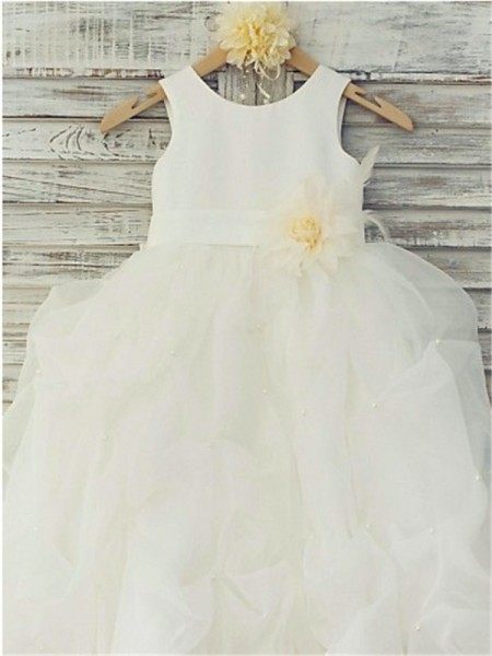 Ball Gown Scoop Hand-made Flower Floor-Length Organza Flower Girl Dress