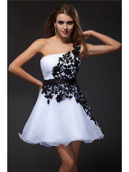 Empire Strapless Applique Organza Cocktail Dress