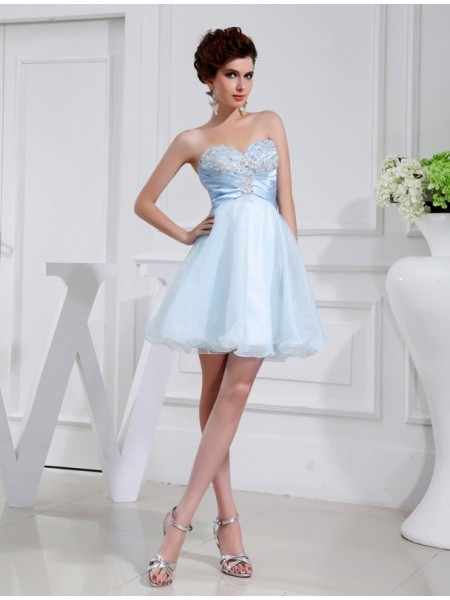 A-Line/Princess Sweetheart Applique Elastic Woven Satin Organza Bridesmaid Dress