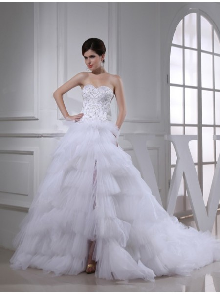 A-Line/Princess Sweetheart Satin Wedding Dress