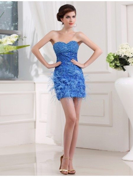 Sheath/Column Sweetheart Organza Bridesmaid Dress