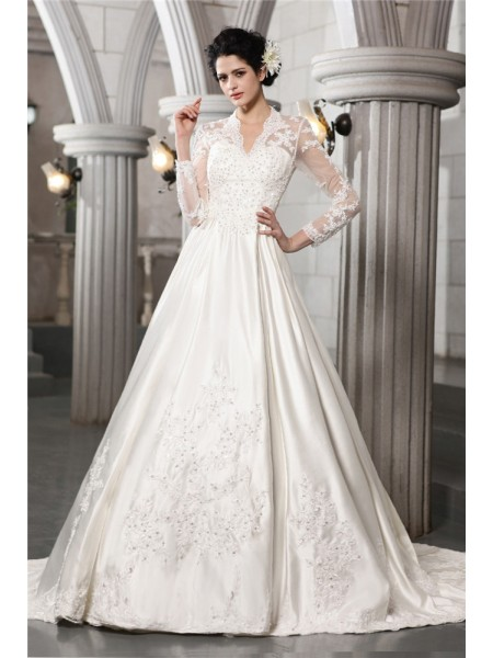 A-Line/Princess Long Sleeves Applique Long Satin Wedding Dress