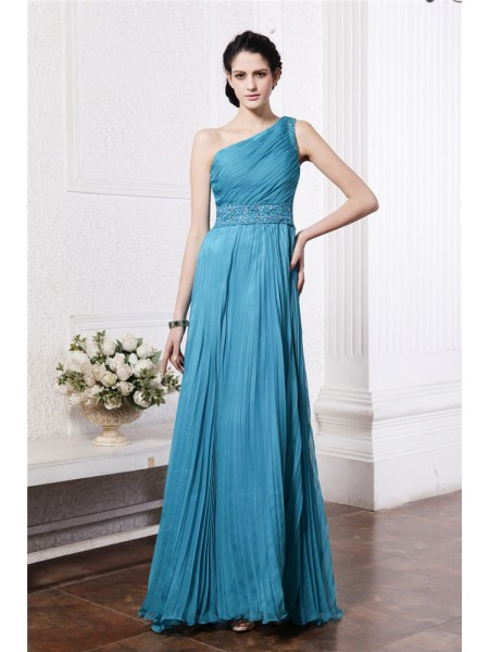 Sheath/Column One-Shoulder Pleats Chiffon Bridesmaid Dress