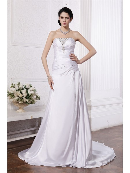 A-Line/Princess Strapless Ruffles Long Silk like Satin Wedding Dress