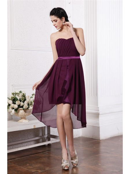 Sheath/Column Strapless Sash Pleats High Low Chiffon Cocktail Dress