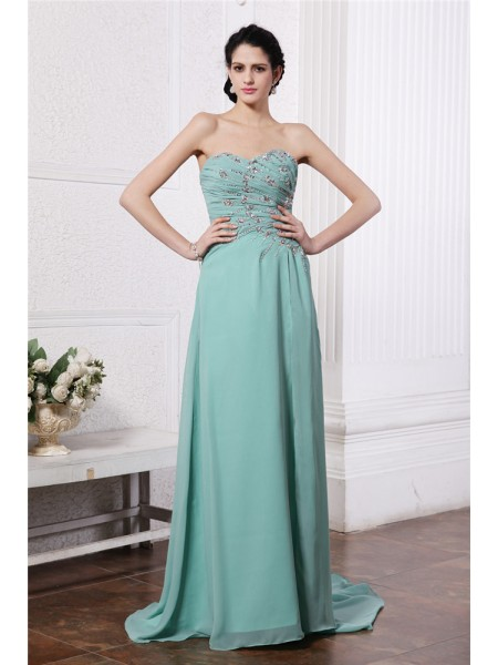 Sheath/Column Sweetheart Rhinestone Chiffon Dress