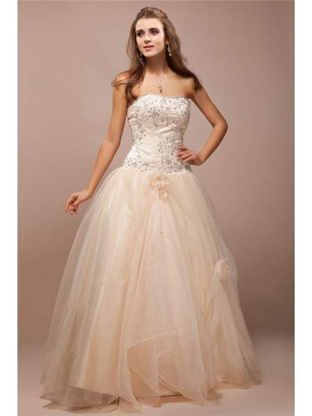 Ball Gown Strapless Lace Long Net Satin Dress