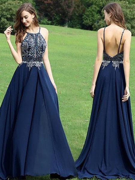 A-Line/Princess Halter Chiffon Beading Floor-Length Dress