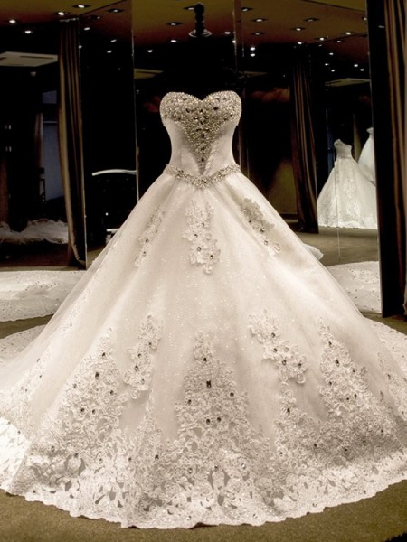 Ball Gown Sleeveless Cathedral Train Applique Sequin Tulle Wedding Dress
