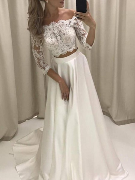 A-Line/Princess 3/4 Sleeves Court Train Applique Satin Wedding Dress
