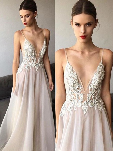 A-Line/Princess Sleeveless V-neck  Lace Tulle Wedding Dress