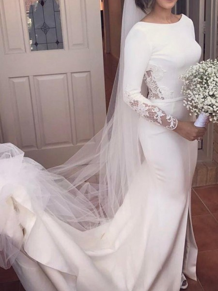 Trumpet/Mermaid Long Sleeves Scoop Court Train Lace Satin Wedding Dress
