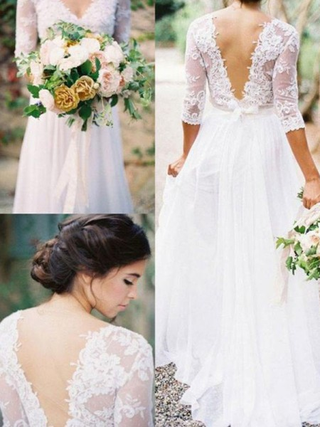 A-Line/Princess 1/2 Sleeves V-neck Floor-Length Applique Lace Chiffon Wedding Dress