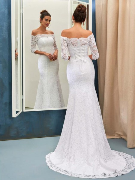 Trumpet/Mermaid 1/2 Sleeves Lace Sweep/Brush Train Wedding Dress