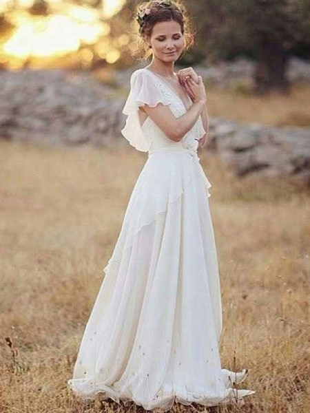 A-Line/Princess Chiffon V-neck Short Sleeves Floor-Length Wedding Dress