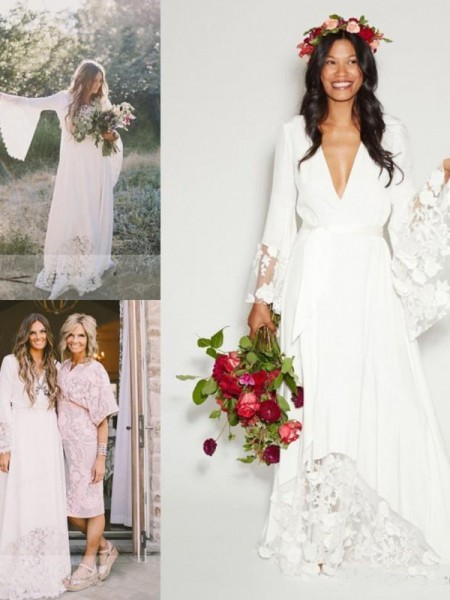 A-Line/Princess V-neck Lace Chiffon Long Sleeves Floor-Length Wedding Dress