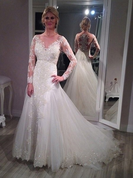 A-Line/Princess V-neck Sweep/Brush Train Long Sleeves Sequin Tulle Wedding Dress