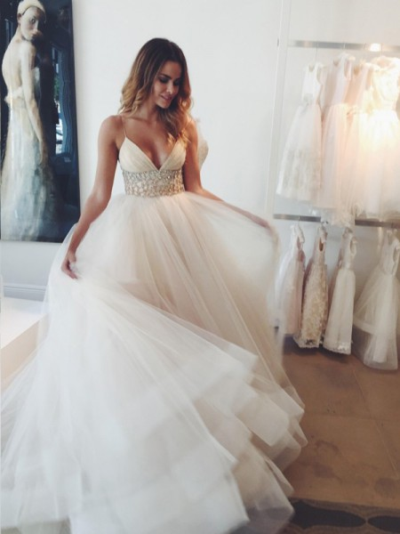 Ball Gown Spaghetti Straps Crystal Court Train Tulle Wedding Dress
