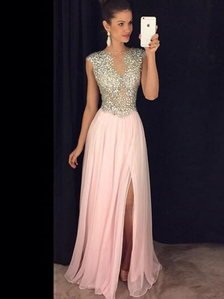 A-Line/Princess Bateau Chiffon Sequin Floor-Length Dress