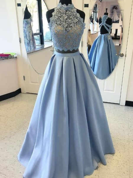 Ball Gown High Neck Floor-Length Applique Satin Two Piece Dress