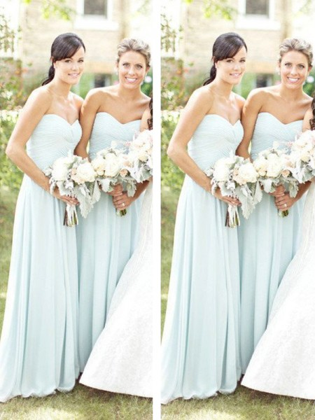 A-Line/Princess Sweetheart Floor-Length Chiffon Bridesmaid Dress