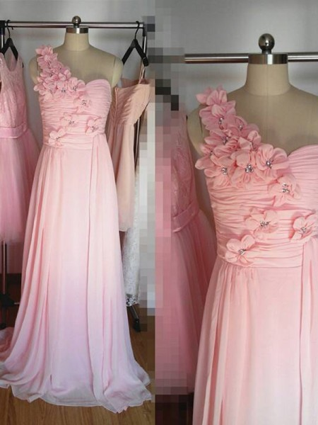 A-Line/Princess One-Shoulder Floor-Length Chiffon Bridesmaid Dress
