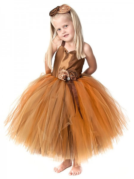 Ball Gown Straps Hand-Made Flower Tea-Length Tulle Flower Girl Dress
