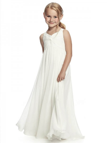 A-Line/Princess Straps Ruched Floor-Length Chiffon Flower Girl Dress