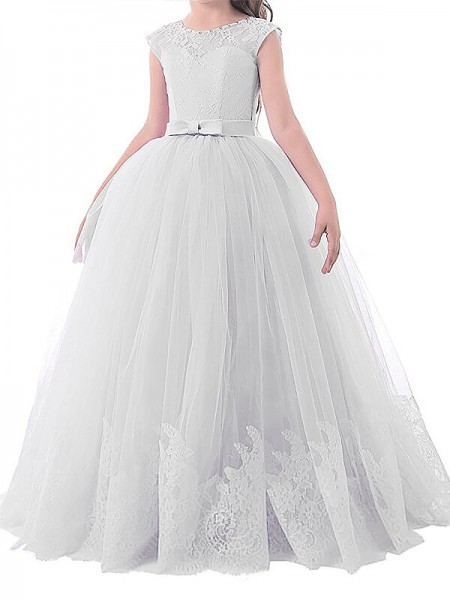Ball Gown Jewel Bowknot Floor-Length Tulle Flower Girl Dress