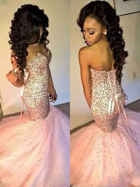 Trumpet/Mermaid Sweetheart Tulle Sequin Floor-Length Dress