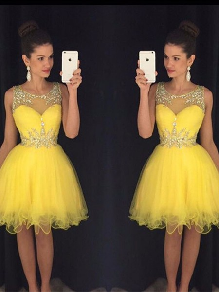 A-Line/Princess Scoop Tulle Short/Mini Dress
