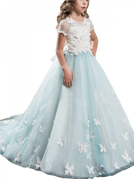 A-line/Princess Scoop Tulle Floor-Length Flower Girl Dress with Lace