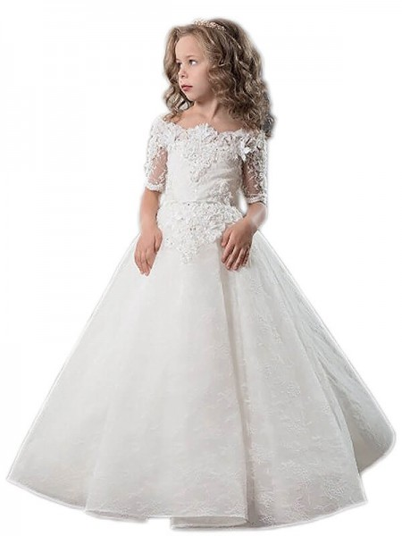 Ball Gown Off-the-Shoulder Applique Satin Floor-Length Flower Girl Dress