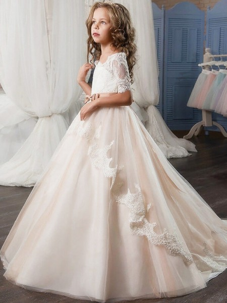 Ball Gown Off-the-Shoulder Tulle Sash/Ribbon/Belt Flower Girl Dress