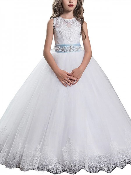 Ball Gown Scoop Applique Floor-Length Tulle Flower Girl Dress