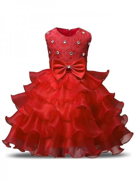 Ball Gown Scoop Ruffles Tea-Length Organza Flower Girl Dress