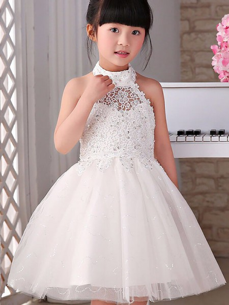A-line/Princess Halter Beading Tulle Knee-Length Flower Girl Dress
