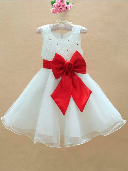 A-line/Princess Scoop Long Bowknot Flower Girl Dress with Organza