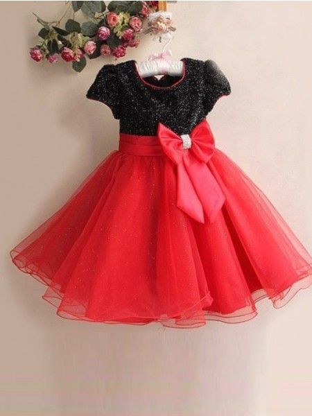 A-line/Princess Scoop Bowknot Flower Girl Dress with Organza
