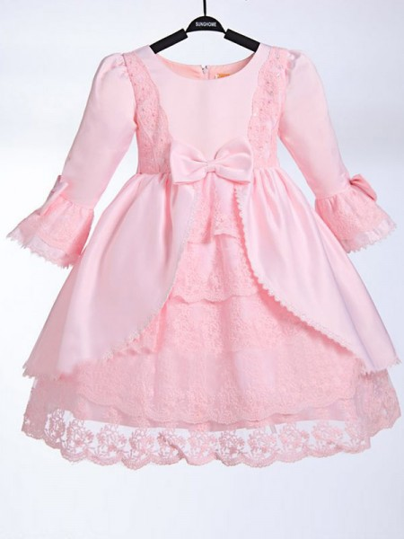 A-line/Princess Scoop Bowknot Flower Girl Dress with Satin