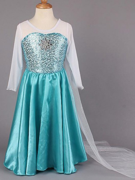 A-line/Princess Scoop Beading Flower Girl Dress with Stain