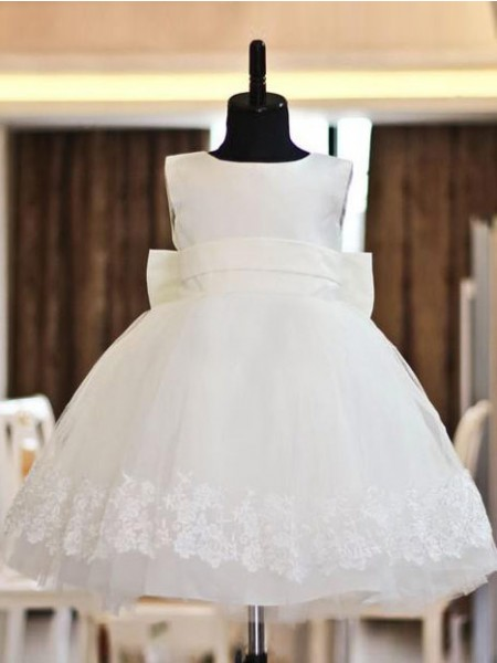 A-line/Princess Scoop Long Organza Flower Girl Dress with Lace