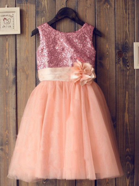 A-line/Princess Scoop Sequin Long Tulle Dress