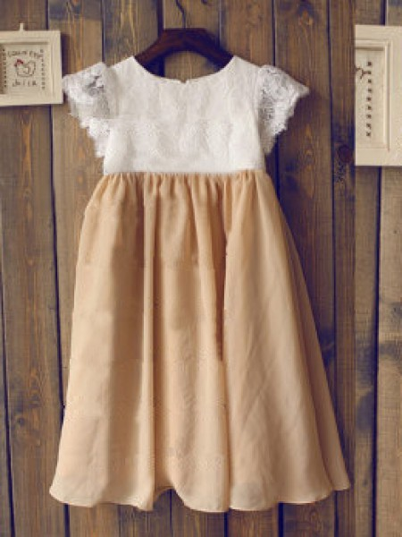 A-line/Princess Scoop Short Sleeves Long Chiffon Dress