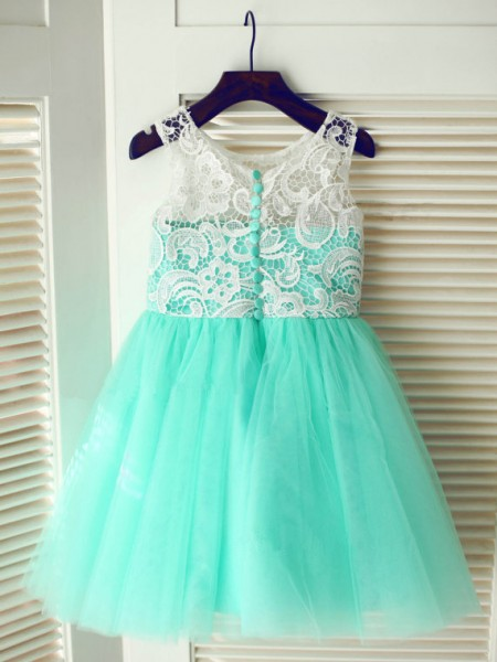A-line/Princess Scoop Lace Long Tulle Dress