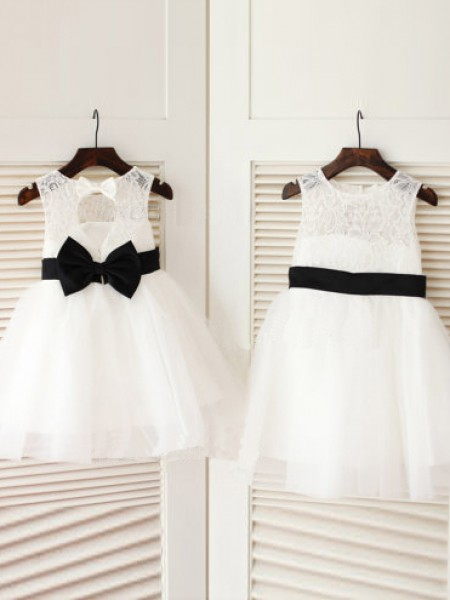 A-line/Princess Scoop Bowknot Long Tulle Dress