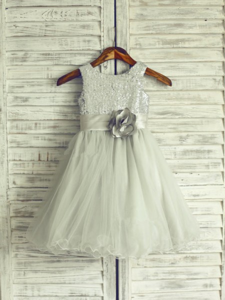 A-line/Princess Scoop Hand-Made Flower Long Organza Dress