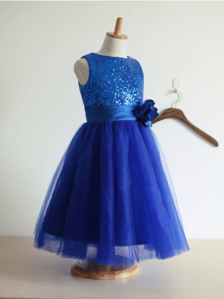 A-line/Princess Jewel Hand-Made Flower Tulle Long Dress